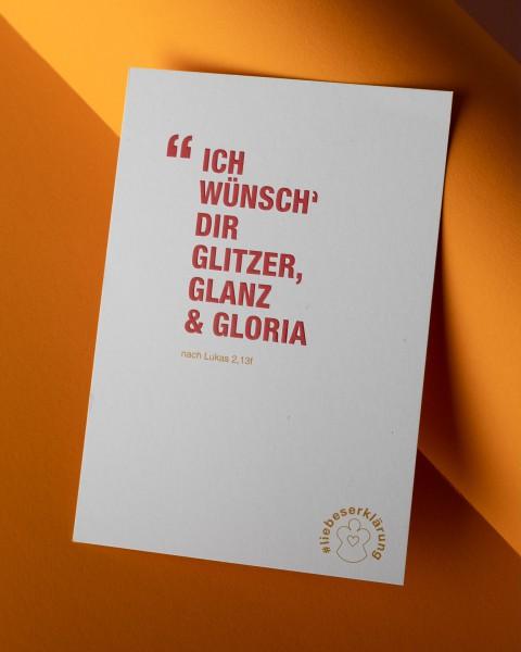 """Komplimente-Postkarte für Weihnachten """"Ich wünsch´ Dir Glitzer, Glanz & Gloria"""""""