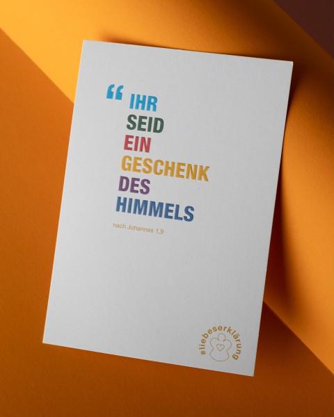 """Komplimente-Postkarten für Weihnachten """"Ihr seid ein Geschenk des Himmels"""""""