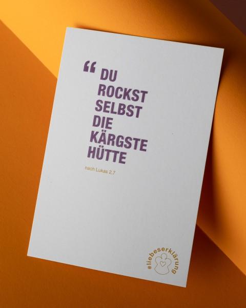"""Komplimente-Postkarte für Weihnachten """"Du rockst selbst die kärgste Hütte"""""""